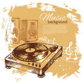 Music vintage background. Hand drawn illustration — Stock Vector
