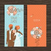 Wedding invitation card. Vintage illustration with newlyweds — Stock Vector