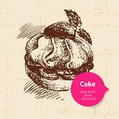 Vintage sweet cake background with color bubble — Vetor de Stock