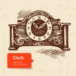 Vintage clock. Hand drawn illustration — Vector de stock