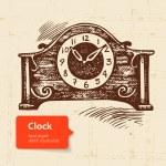 Vintage clock. Hand drawn illustration — Stock Vector