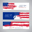 Banners with american flag. Independence Day design — Vettoriali Stock