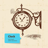 Vintage street clock. Hand drawn illustration — Stock Vector
