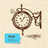 Vintage street clock. Hand drawn illustration — Stock Vector