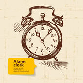 Vintage alarm clock. Hand drawn illustration — Stock Vector