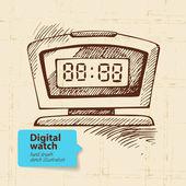 Ročník digitální hodinky — Stock vektor