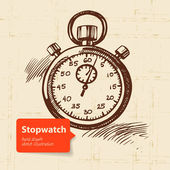 Vintage stopwatch. Hand drawn illustration — Stock Vector