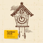 Vintage cuckoo-clock. Hand drawn illustration — Cтоковый вектор
