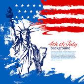 アメリカ国旗を持つ 7 月背景の 4。独立記念日 — ストックベクタ