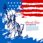 4th of July background with American flag. Independence Day — Stockvector