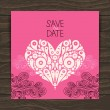Stock Vector: Wedding invitation card with decorative stylish heart