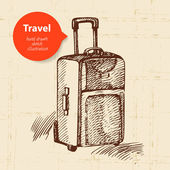 Vintage background with travel suitcase. Hand drawn illustration — Stock Vector