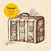 Vintage bakgrund med resor resväska. hand dras illustration — Stockvektor