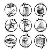 あなたのデザインは、scrapboo の - 旅行や休暇の切手のコレクション — ストックベクタ