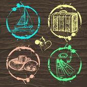 Cestování a dovolená sbírka známek - pro svůj design, scrapboo — Stock vektor