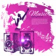 Music background with hand drawn illustration and dance girl sil — Stock Vector #27596085
