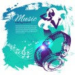 Music background with hand drawn illustration and dance girl sil — Imagens vectoriais em stock