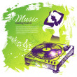 Music background with hand drawn illustration and dance girl sil — Stockvectorbeeld