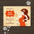 Vintage baby shower invitation with beautiful pregnant woman — Stockvectorbeeld