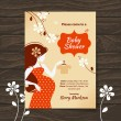 Stock Vector: Vintage baby shower invitation with beautiful pregnant woman
