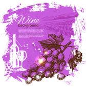Wine vintage background. Hand drawn illustration. Splash blob re — Stock Vector