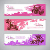 Banners of wine vintage background. Hand drawn illustrations — Stock Vector