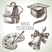 Hand drawn vector school object set. Back to school illustration — Stock Vector