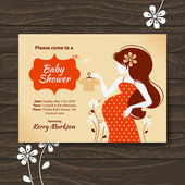 Vintage baby shower invitation with beautiful pregnant woman — Stock Vector