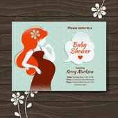 Invitación ducha bebé vintage con hermosa mujer embarazada — Vector de stock