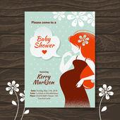 Invito a doccia bambino vintage con bella donna incinta — Vettoriale Stock