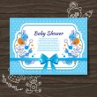 Stock Vector: Sweet baby shower invitation with doodle baby toys