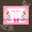 Sweet baby shower invitation with doodle baby toys — Stock Vector
