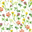 Stock Vector: Watercolor floral seamless pattern. Vintage retro summer background