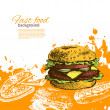 Vintage fast food background. Hand drawn illustration — Stock Vector