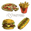 Fast food set. Hand drawn illustrations — Stock Vector #28259413