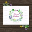Wedding invitation card with watercolor floral bouquet. — Image vectorielle