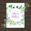 Wedding invitation card with watercolor floral bouquet. — Stok Vektör #28259451