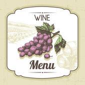 复古酒菜单背景。手工绘制的插图 — 图库矢量图片