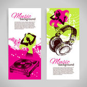 Music banners with hand drawn illustration and dance girl silhouette — Stock Vector