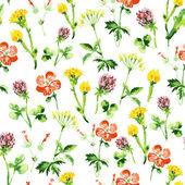 水彩シームレスな花柄。ビンテージ レトロな夏の背景 — ストックベクタ