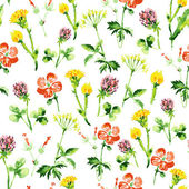 Watercolor floral seamless pattern. Vintage retro summer background — Stock Vector