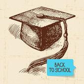 Vintage hand drawn back to school illustration — Stock Vector