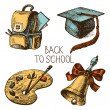 Hand drawn vector school object set. Back to school illustration — Stock Vector #28663899