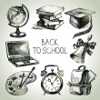 Stock Vector: Hand drawn vector school object set. Back to school illustration