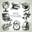 Hand drawn vector school object set. Back to school illustration — Stock Vector