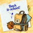Back to school vector design. Hand drawn vintage  background — Stock Vector