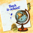 Back to school vector design. Hand drawn vintage background — Stock Vector #28664027