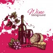 Wine vintage background. Hand drawn illustration — Stockvectorbeeld