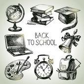 Ručně kreslenou vektorové školy objektu sada. zpátky do školy ilustrace — Stock vektor