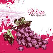 Víno ročník pozadí. ručně tažené ilustrace — Stock vektor